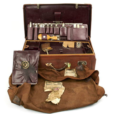 Original German WWII Named Officer Leather Suitcase with Grooming Kit - U.S. WW2 Bring Back