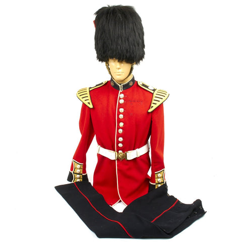 Original British Coldstream Guards Bandsman Uniform Set with Bearskin Helmet - Queens Crown 1950s