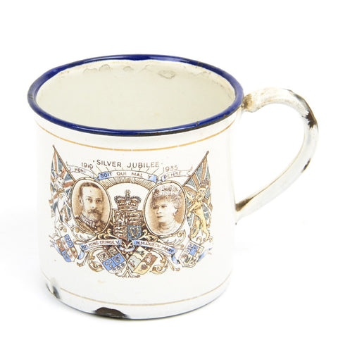 Original British 25th Anniversary Silver Jubilee Enamel Mug of King George 5th from 1935