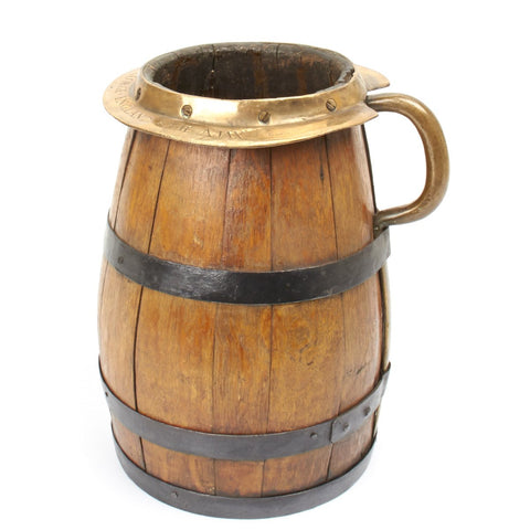 Original British Wood Grog Serving Keg Marked- H.M.S. AJAX 1799