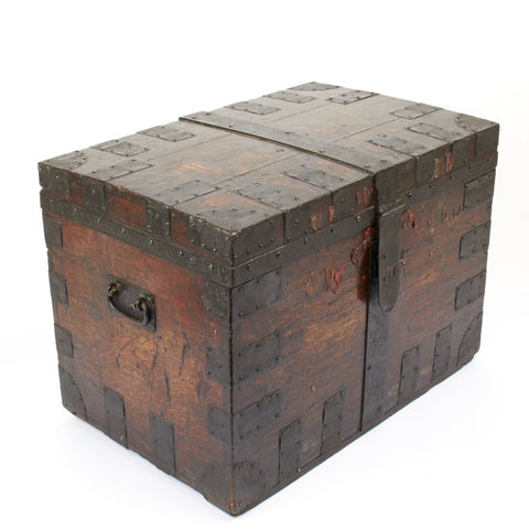 Original British Naval Napoleonic Wars Era Captains Oak Strong Box Chest- Circa 1790