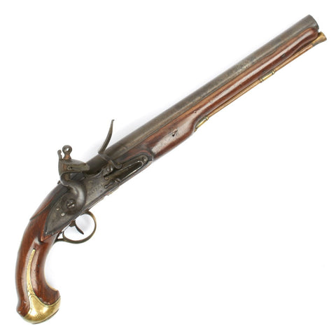Original Named British Flintlock Officer Dragoon Pistol by John Waters