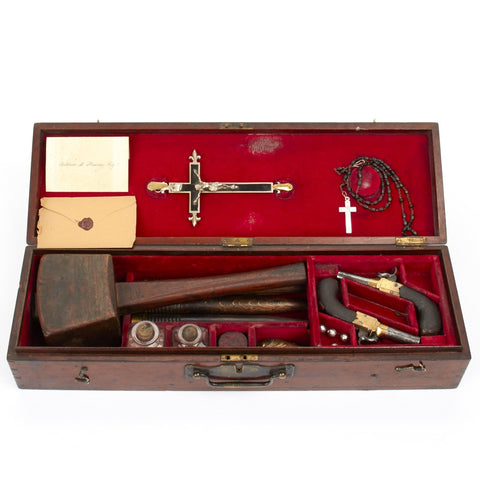 Original Victorian Era Cased Vampire Defense Set of Dr. W.M. Ramsey, St. John's College Oxford - Circa 1886