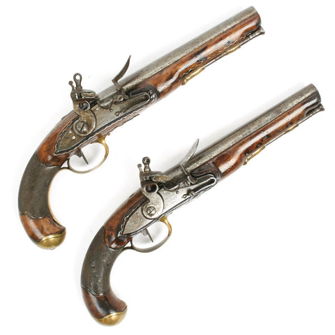 Original French Matched Pair of Officer Flintlock Pistols Signed by CHERET A PARIS-  circa 1795