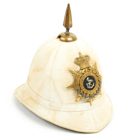 Original British Victorian Era Officer Spiked Pith Helmet - Queen Own Royal West Kent Regiment - Circa 1882