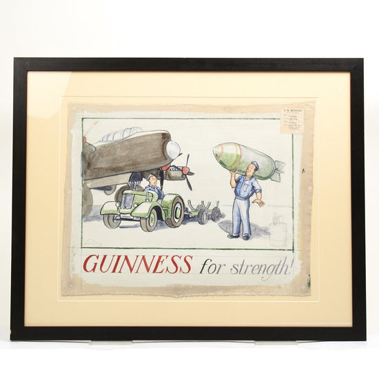 Original WWII Guinness Advertising Oil on Canvas Artwork by John Gilroy - 1944 Royal Air Force Bomber Crew Original Items