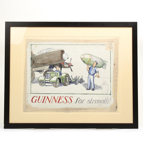 Original WWII Guinness Advertising Oil on Canvas Artwork by John Gilroy - 1944 Royal Air Force Bomber Crew