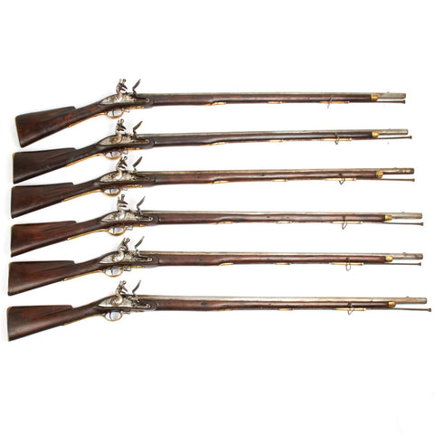Original 1796 British Brown Bess Third Model Musket Set Marked Dover Castle- Numbered 1 through 6