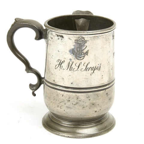 Original British Pewter Pint Tankard Engraved H.M.S. SERAPIS