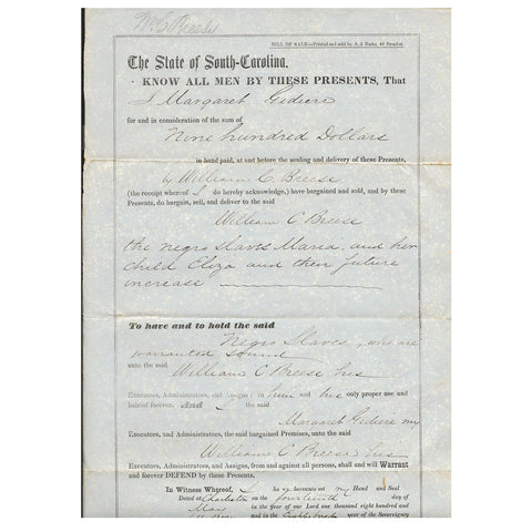 Original Pre-Civil War State of South Carolina City of Charleston Slave Document Bill of Sale - Dated 1857 Original Items