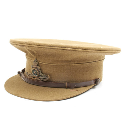 Original British WWI Royal Artillery Officer Visor Hat by Hawkes and Company Original Items