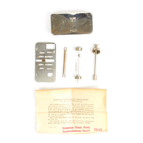 Original German WWII Medical Syringe Set with Instructions - Marked DRK, Dated 1943