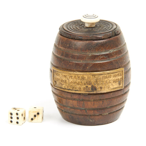 Original WWI Dice Set and Shaker Constructed from Wood of the H.M.S IRON DUKE