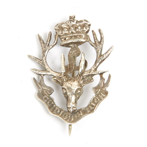 Original WWII Scottish Queen's Own Highlanders Seaforth Regimental Sterling Silver Sweetheart Brooch Original Items