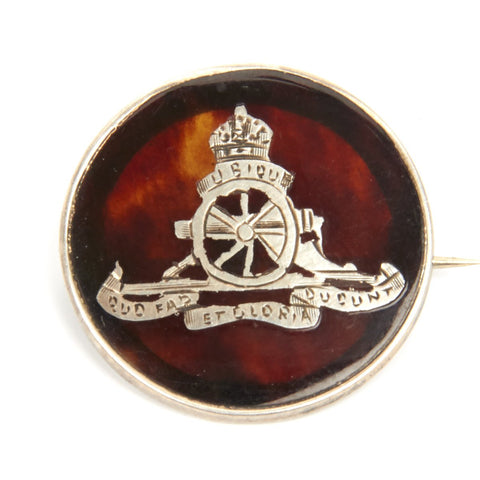 Original WWI British Royal Artillery Silver And Tortoise Shell Tie/Lapel Pin