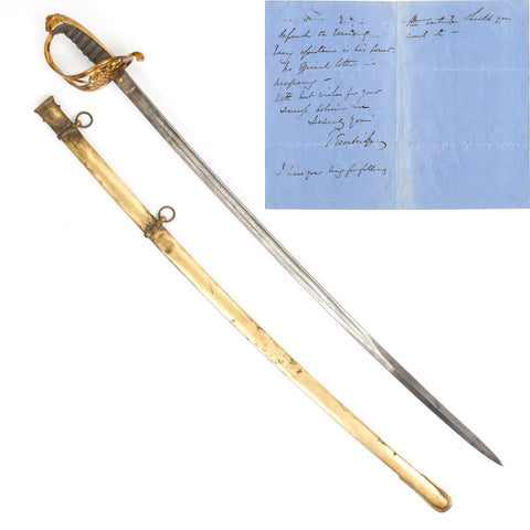 Original British Crimean War Officer Sword with Letter of Sir Thomas Troubridge of the 7th Royal Fussiliers