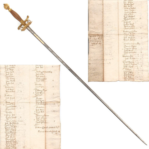 Original British Named Small Sword with 1699 Dated Militia Roll