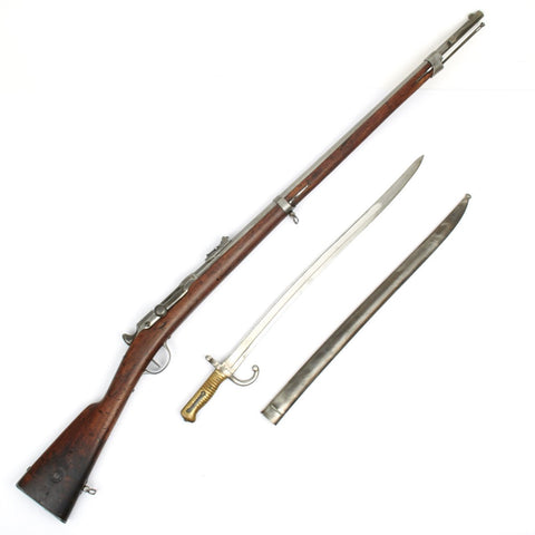 Original French Model 1866 Chassepot Needle Fire Rifle with Bayonet - Matching Serial Numbers