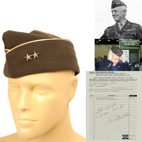 Original U.S. WWII Garrison Cap Named to Two Star Major General George S. Patton with Auction Receipt