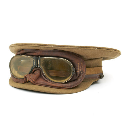 Original British WWI Royal Flying Corps Aviator Visor Cap with Triplex MkII Flying Mask Goggles