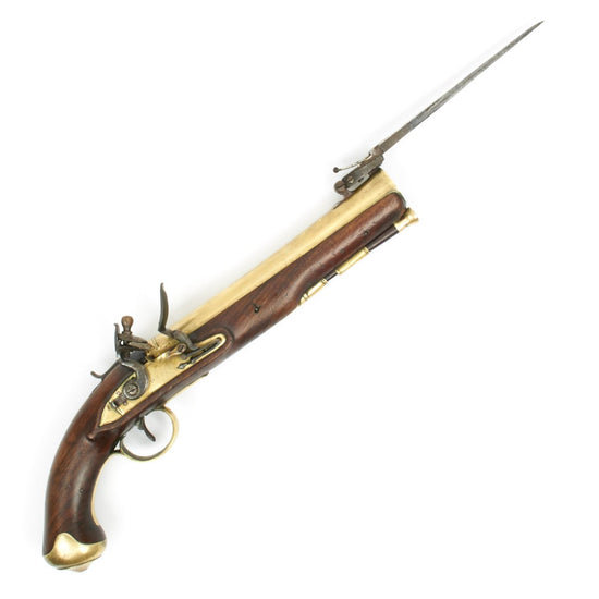 Time Original British Mail Coach Brass Barrel Blunderbuss Flintlock Pistol with Spring Bayonet by Durs Egg - Circa 1800
