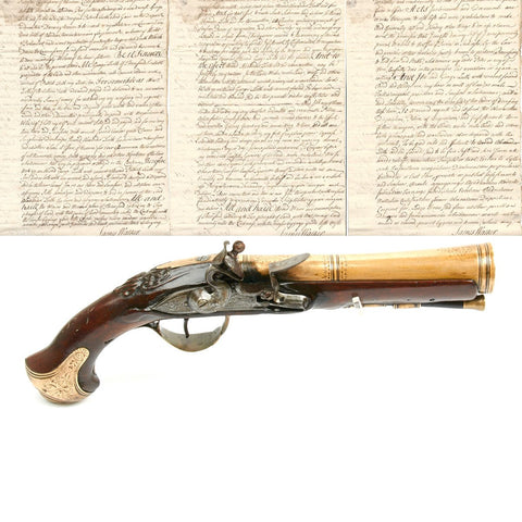 Original Scottish 18th Century Flintlock Brass Barrel Blunderbuss Pistol - by Segallas of London with Document