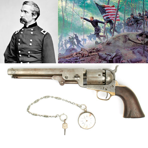 Original Colt 1851 Navy .36 Caliber Pistol and Silver Pocket Watch Named to Joshua Chamberlain 20th Maine Infantry