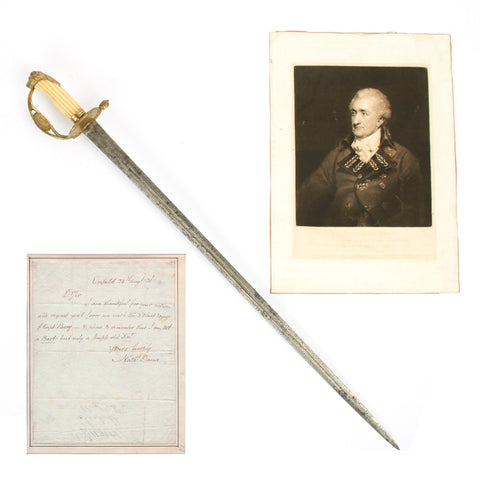 Original Honorable East India Company Grouping of Sir Nathaniel Dance - Named Sword, Signed Letter, Original Print