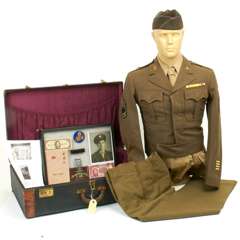 U.S. WWII Army Air Force Flying Tigers Named Large Grouping in Suit Case Original Items