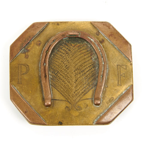 Original U.S. WWI Era Prison Convict Made Belt Buckle - When Your Luck Runs Out Original Items