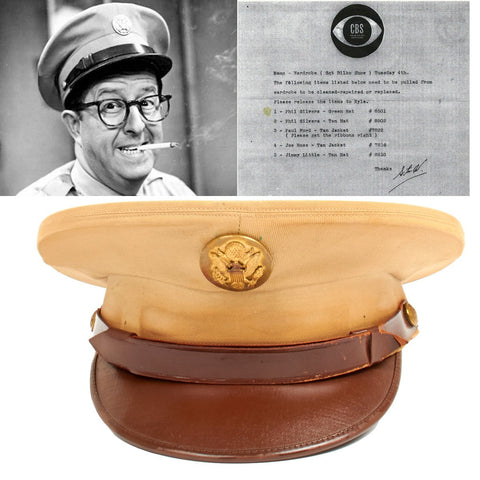 Original U.S. Army Visor Hat Worn by Phil Silvers as Sergeant Bilko 1955-1959 - Last of the Collection