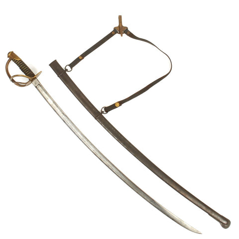 Original U.S Civil War 1860 Light Cavalry Saber with Leather Hanger by C. Roby- Dated 1864