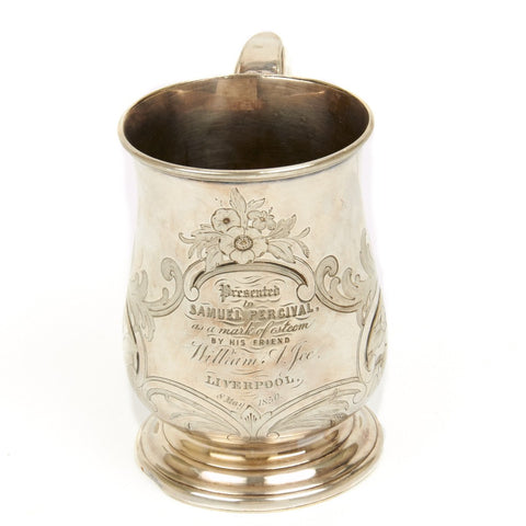 Original British 1850 Presentation Named Naval Officer Silvered Tankard - Imperial Pint