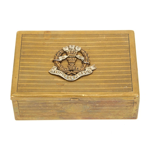 Original British WWI Middlesex Regimental Brass Cigarette Box