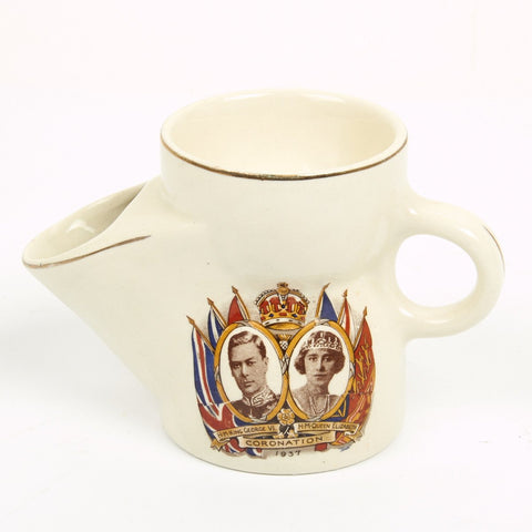 Original British 1937 Coronation Shaving Scuttle Cup of King George VI & Queen Elizabeth