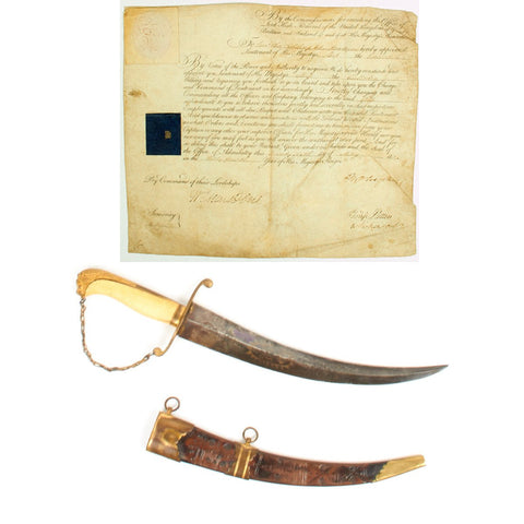 Original British 1804 Napoleonic Named Midshipman Dirk with Commission - HMS Culloden Original Items