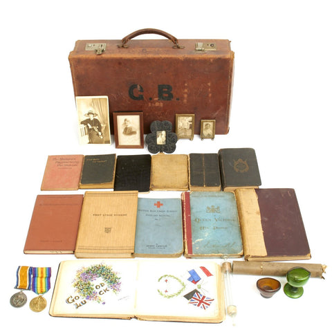 Original British WWI Nurse Named Medical Kit Grouping in Case with Amazing Autograph Book