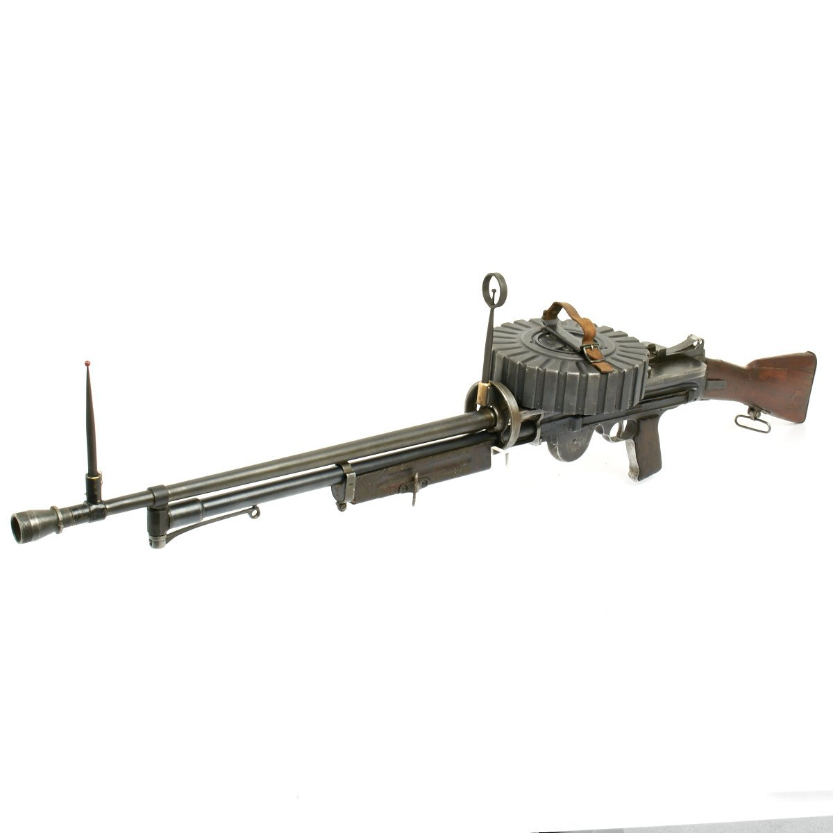Original British WWI Lewis Aircraft Gun Modified for WWII Home Guard with  97 Round Drum Magazine