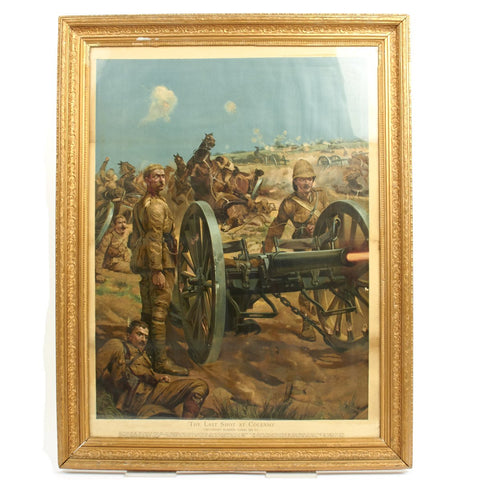 "Original Antique Chromolithograph ""The Last Shot at Colenso"" by Richard Caton Woodville - Framed 28"" x 36"""