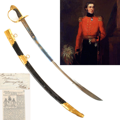 Original Napoleonic British P-1803 Named Officer Sword Carried at Battle of Waterloo