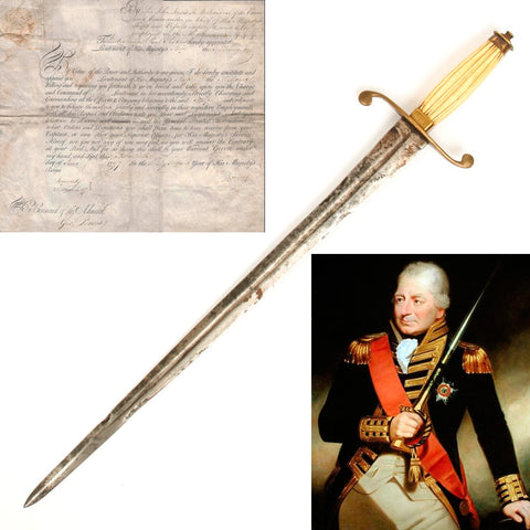 Original British Napoleonic Officer Commission with Named Dirk of Lieutenant Thomas Paul Perkins