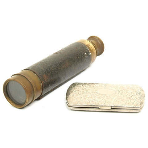 Original British WWI Royal Artillery Named Colonel Telescope and Silver Card Case - Dated 1917 Original Items