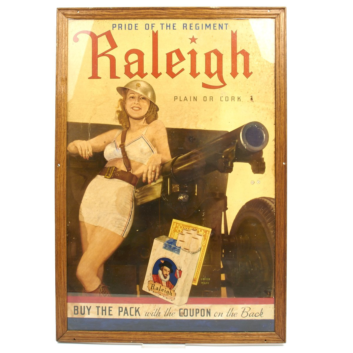 Original U S  WWII 1940 Raleigh Cigarettes Pin Up Girl