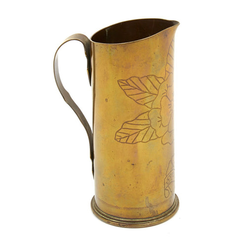 Original British WWI Trench Art Water Jug from 6 Pound Artillery Shell - Dated 1917