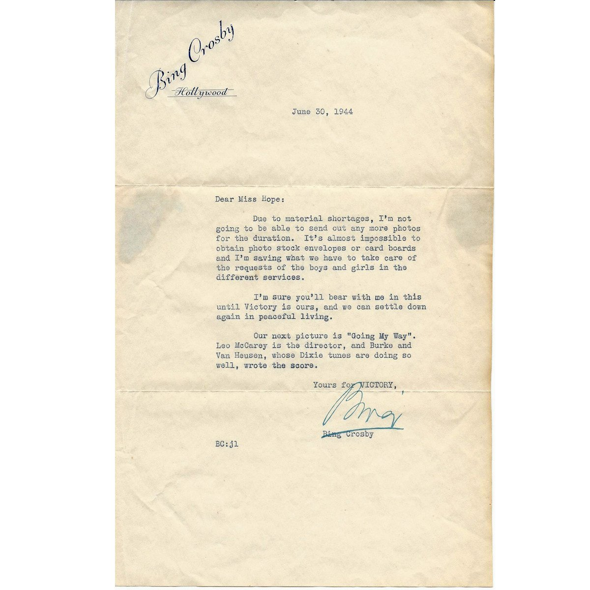 Original U S  WWII Bing Crosby Signed Letter Dated June 30th 1944