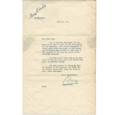 Original U.S. WWII Bing Crosby Signed Letter Dated June 30th 1944