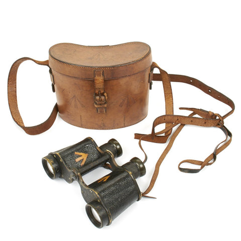 Original British WWI Officer Binoculars in Leather Case