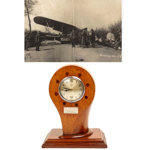 Original British WWI Royal Flying Corps Airplane Propeller Clock Named and Dated 1916