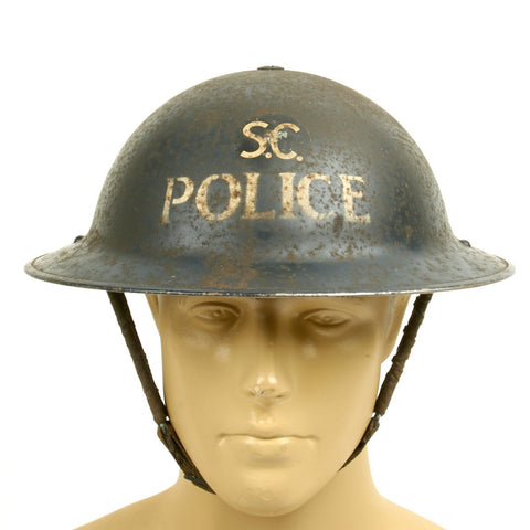 Original British WWII Brodie Mk1 Police Steel Helmet - Dated 1939