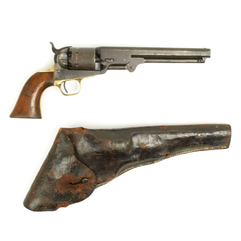 Original U.S. Civil War Colt 1851 Navy .36 Caliber Revolver with Vintage Military Holster - Manufactured in 1863